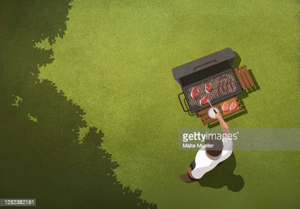 view from above man barbecuing steaks at grill in backyard - leisure activity stock illustrations