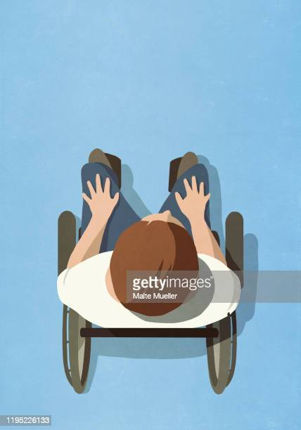 view from above man in wheelchair - anticipation stock illustrations
