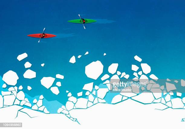 view from above people kayaking along ice on ocean - two people stock illustrations