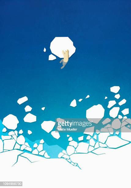view from above polar bear climbing on floating ice in ocean - iceberg ice formation stock illustrations