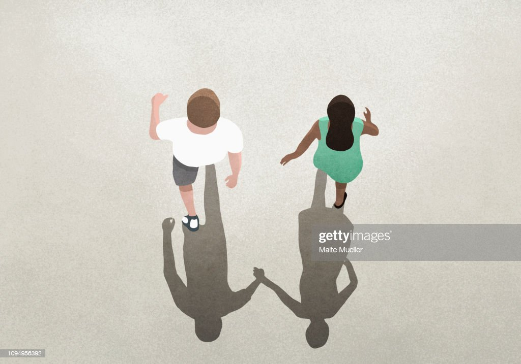 View from above shadow of couple holding hands : Stock Illustration