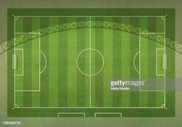 view from above soccer field - football field stock illustrations, clip art, cartoons, & icons