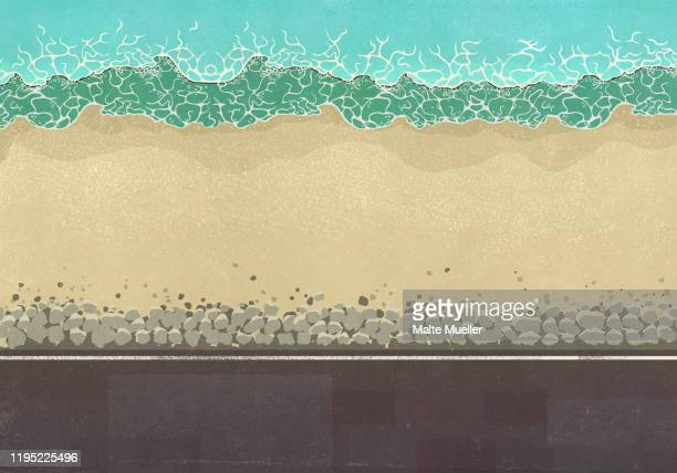 view from above sunny ocean beach - sea stock illustrations