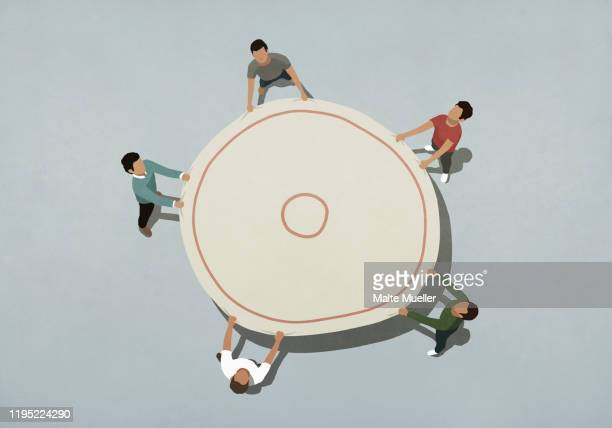 view from above team holding safety net - image technique stock illustrations