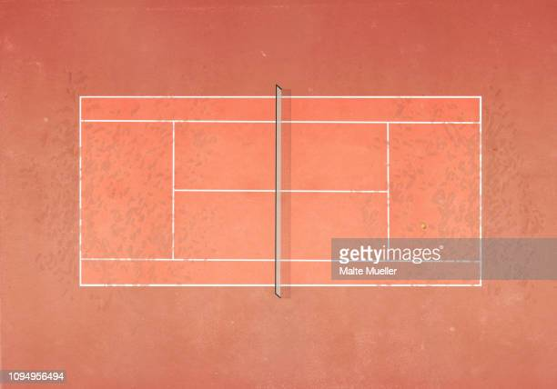 illustrations, cliparts, dessins animés et icônes de view from above tennis ball on clay tennis court - tennis