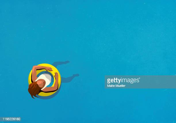 illustrations, cliparts, dessins animés et icônes de view from above woman in inflatable ring floating in swimming pool - insouciance