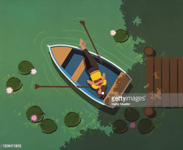 view from above woman relaxing in boat on lily pond - leisure activity stock illustrations