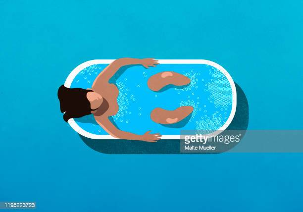 view from above woman relaxing in bubble bath - image technique stock illustrations