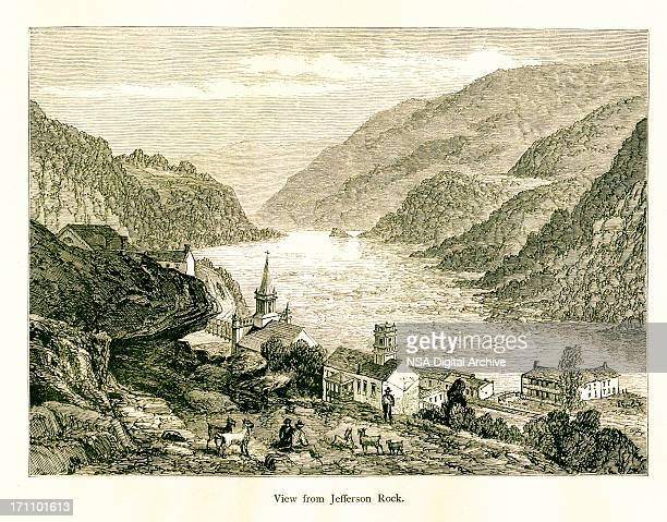 view from jefferson rock, west virginia, wood engraving (1872) - thomas jefferson stock illustrations, clip art, cartoons, & icons