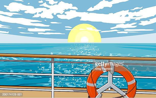 View from ship deck of setting sun