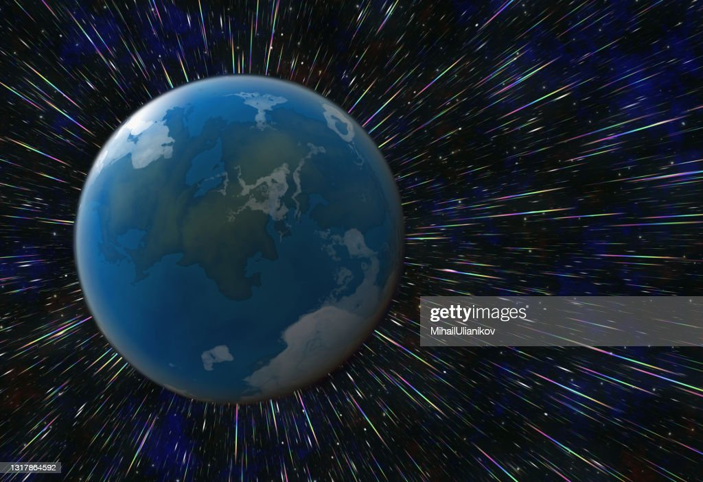 view from space of the fast-flying planet earth : stock illustration