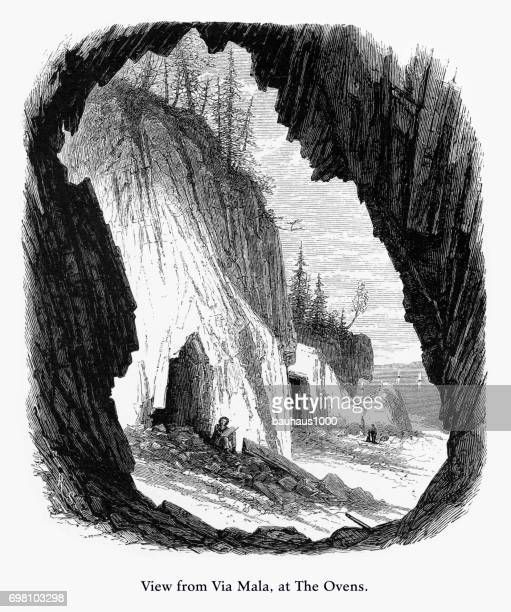 view from via mala at the ovens, adadia national park, maine, united states, american victorian engraving, 1872 - hancock county stock illustrations, clip art, cartoons, & icons