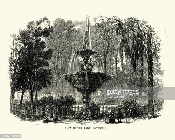view in the park, savannah, georgia, 19th century - savannah georgia stock illustrations, clip art, cartoons, & icons