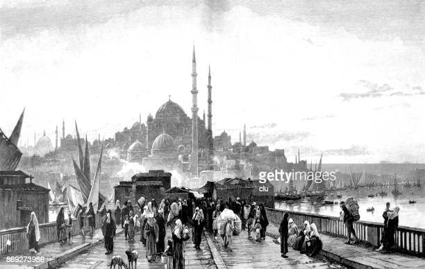 bildbanksillustrationer, clip art samt tecknat material och ikoner med utsikt över en bro och människor på det - det hagia shopia i bakgrunden, istanbul - istanbul