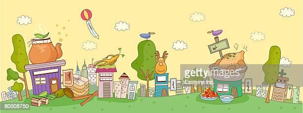 ilustraciones, imágenes clip art, dibujos animados e iconos de stock de view of a colorful abstract illustration - pollo asado