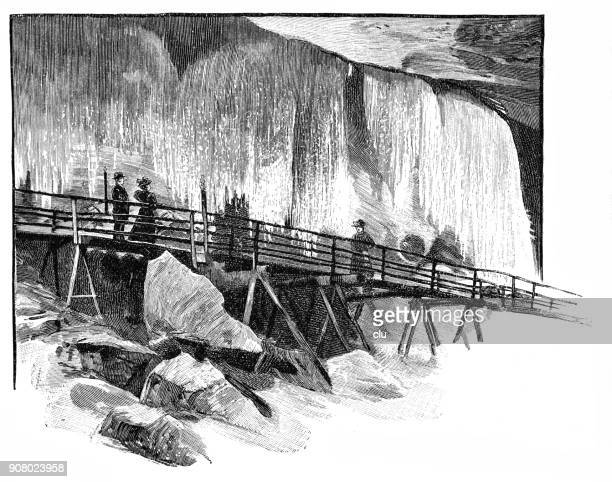 view of an ice cave - ellis island stock illustrations, clip art, cartoons, & icons