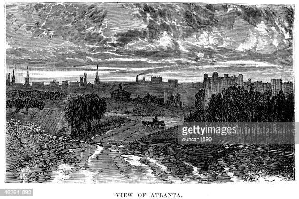 ilustrações, clipart, desenhos animados e ícones de vista de atlanta - atlanta