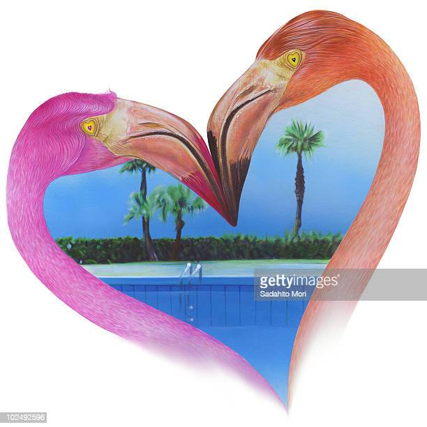 View of beach through heart shape formed by two flamingos