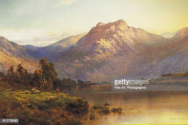 a view of ben-more, scotland, at sunset - silence stock illustrations