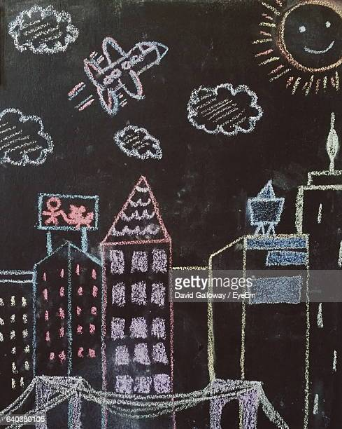 View Of Blackboard With Chalk Drawing Of House, Sun And Space
