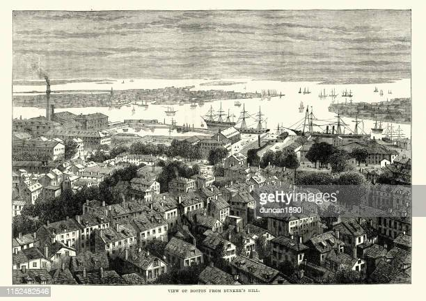 view of boston from bunker's hill, 19th century - boston harbour stock illustrations