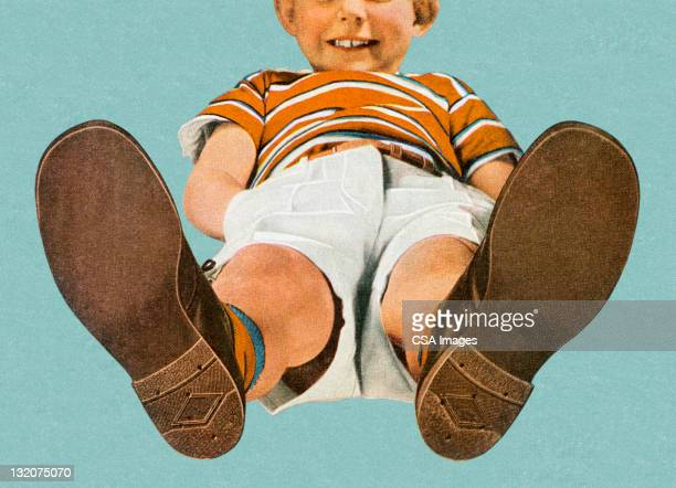 view of boy from the feet up - shoe stock illustrations, clip art, cartoons, & icons