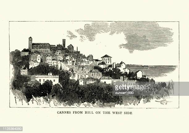 view of cannes, france, 19th century engraving, victorian - cannes stock illustrations, clip art, cartoons, & icons