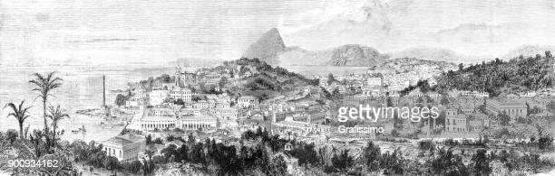 ilustrações, clipart, desenhos animados e ícones de vista da cidade de rio de janeiro brasil 1875 - século xix