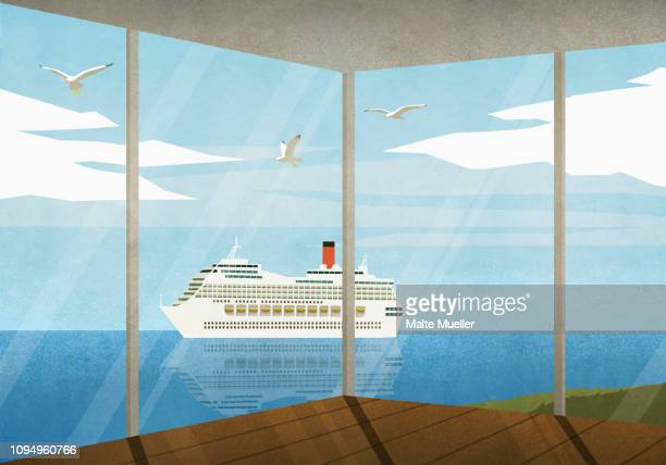 view of cruise ship moving along ocean from beach house - idyllic stock illustrations