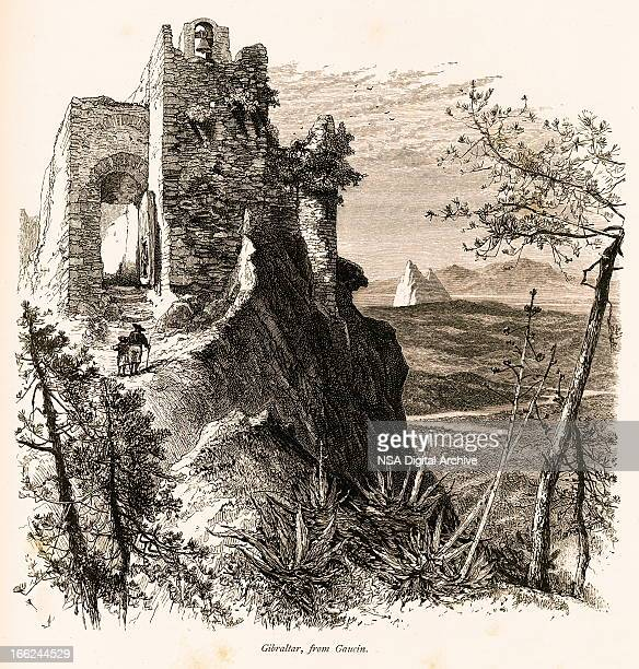 view of gibraltar (antique wood engraving) - málaga province stock illustrations, clip art, cartoons, & icons