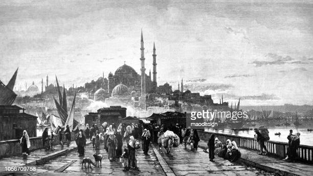 view of istanbul with hagia sophia - ottoman empire stock illustrations