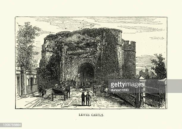 ルーズ城、イーストサセックス、1870年代、19thセムトゥリーの眺め - イーストサセックス点のイラスト素材/クリップアート素材/マンガ素材/アイコン素材
