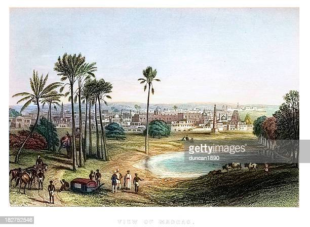 view of madras, india - commonwealth stock illustrations