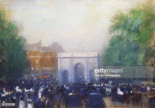a view of marble arch, london - large group of people stock illustrations