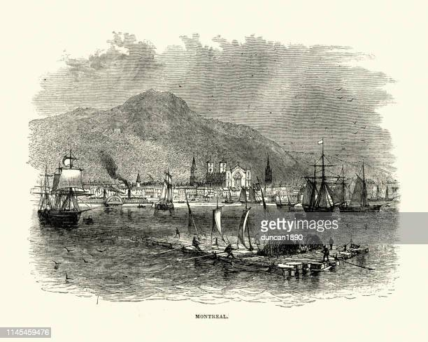 view of montreal, canada in the 19th century - 18th century stock illustrations