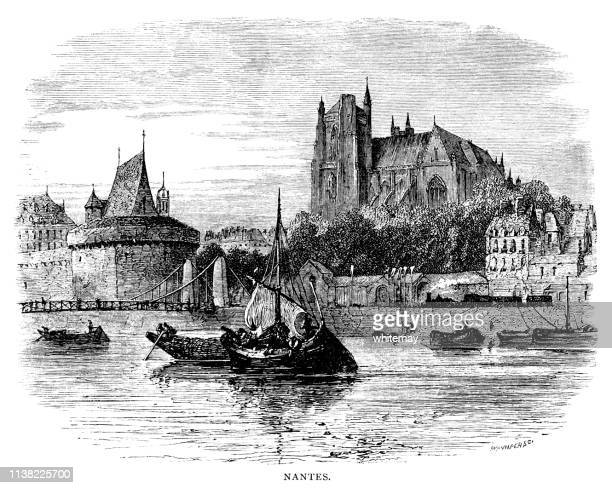 view of nantes, france, from the river loire - nantes stock illustrations, clip art, cartoons, & icons