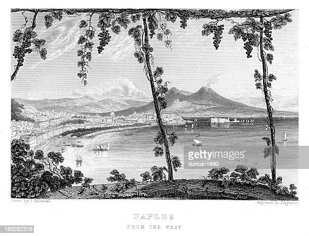 view of naples from the west - naples italy stock illustrations