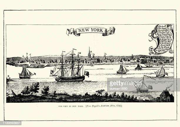 view of new york, in 1730, 18th century - 18th century stock illustrations