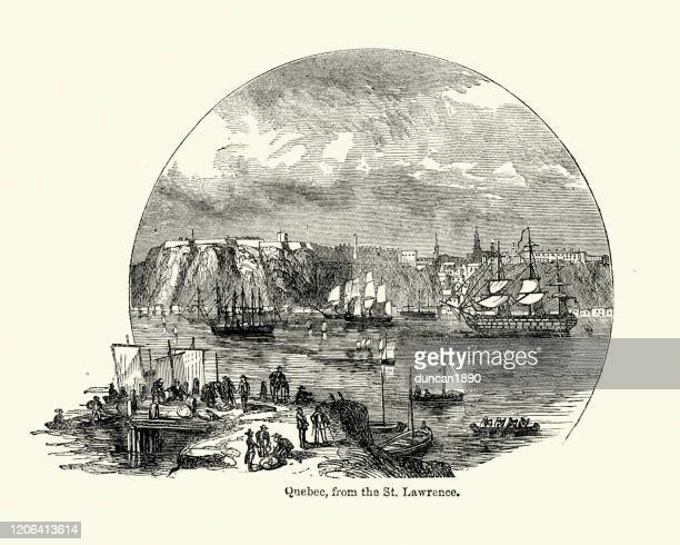 view of quebec, canada from st lawrence river, 19th century - river st lawrence stock illustrations