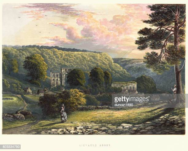 view of rievaulx abbey, 19th century - england stock illustrations