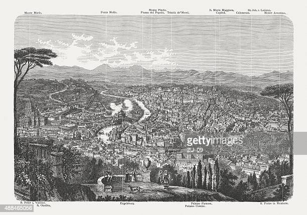 view of rome from monte gianicolo, published in 1878 - castel sant'angelo stock illustrations