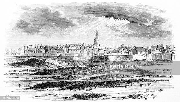 view of saint-malo - brittany france stock illustrations, clip art, cartoons, & icons