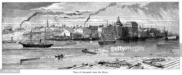 view of savannah from the river - savannah georgia stock illustrations, clip art, cartoons, & icons
