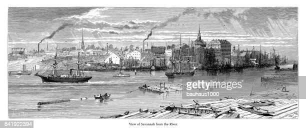 View of Savannah from the Savannah River, Savannah, Georgia, United States, American Victorian Engraving, 1872