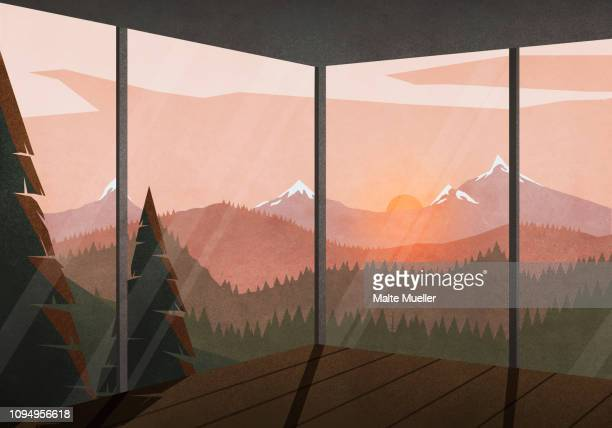 view of sunset behind tranquil, idyllic landscape from house - idyllic stock illustrations