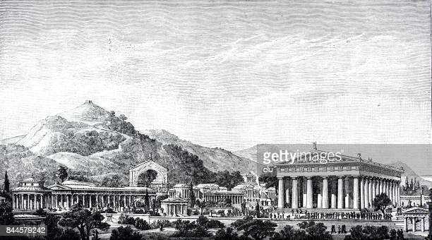 view of the altis of olympia - ancient olympia greece stock illustrations, clip art, cartoons, & icons