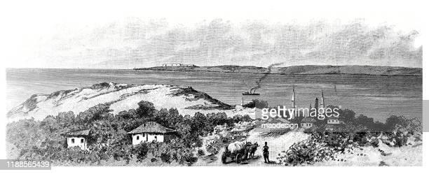 ilustrações, clipart, desenhos animados e ícones de vista da cidade árabe - 1887