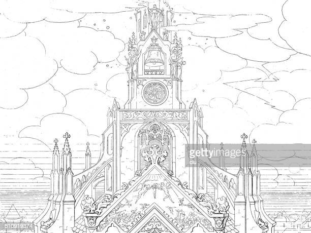 view of the bell on church spire, surrounded by clouds - spire stock illustrations, clip art, cartoons, & icons