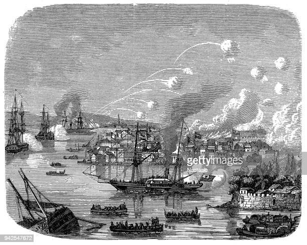 view of the british bombardment of the treaty port of canton during the second opium war, canton, china, 1850s. - british culture stock illustrations