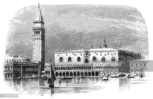 view of the doge's palace in venice from the sea - palace stock illustrations
